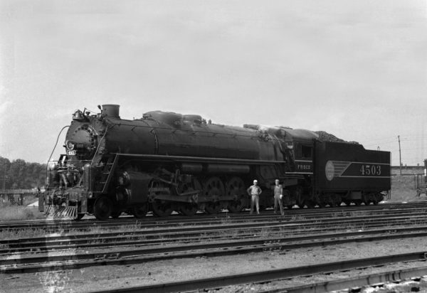 4-8-4 4503 Outbound at Lindenwood Yard, St. Louis, Missouri in June 1942 (William K. Barham)