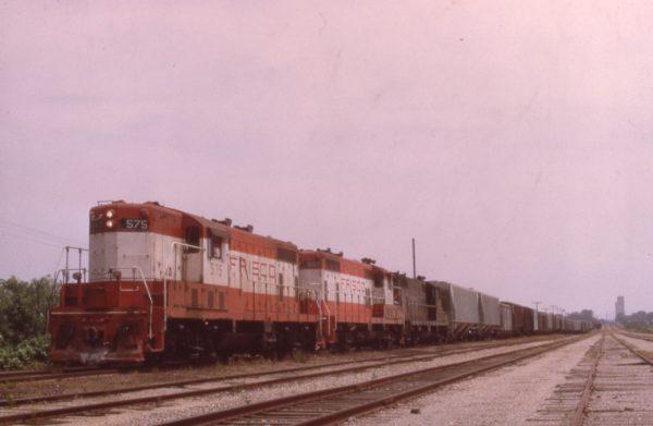 GP7s 575 and 597 at Kansas City, Missouri in June 1971