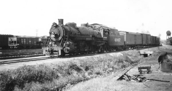 2-8-2 4007 at Monett, Missouri on July 4, 1949