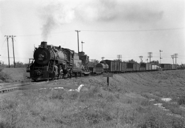 2-8-2 4024 Southbound at Southeastern Junction, St. Louis, Missouri in 1943 (William K. Barham)