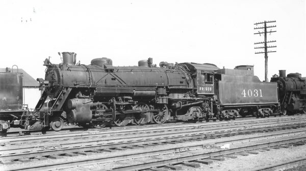 2-8-2 4031 at Monett, Missouri on February 19, 1950 (Arthur B. Johnson)