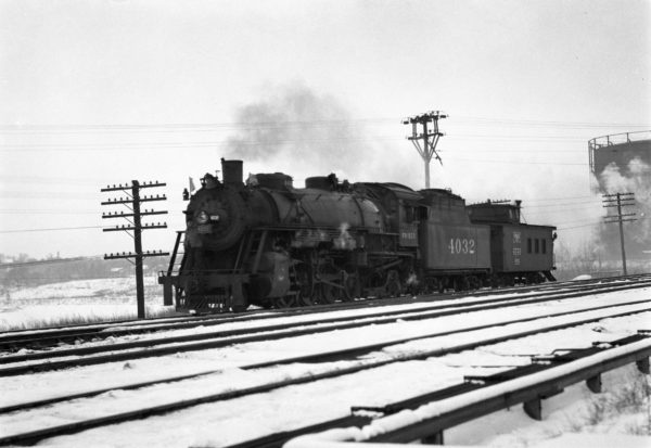 2-8-2 4032 and Caboose 602 Northbound at Southeastern Junction, St. Louis, Missouri in February 1943 (William K. Barham) LIMA