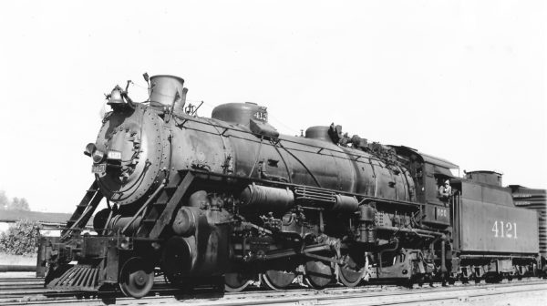 2-8-2 4121 at Tulsa, Oklahoma on July 4, 1947 (Arthur B. Johnson)