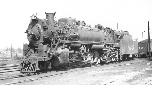 2-8-2 4217 at Springfield, Missouri on March 28, 1948 (Arthur B. Johnson)