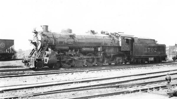 4-8-2 1502 at Springfield, Missouri on November 13, 1947 (Arthur B. Johnson)