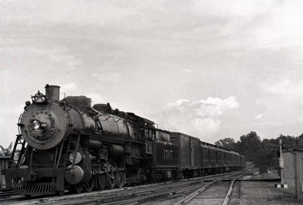 4-8-2 1507 on Train Number 7, Westbound at Southeastern Junction, St. Louis, Missouri in 1942 (William K. Barham)