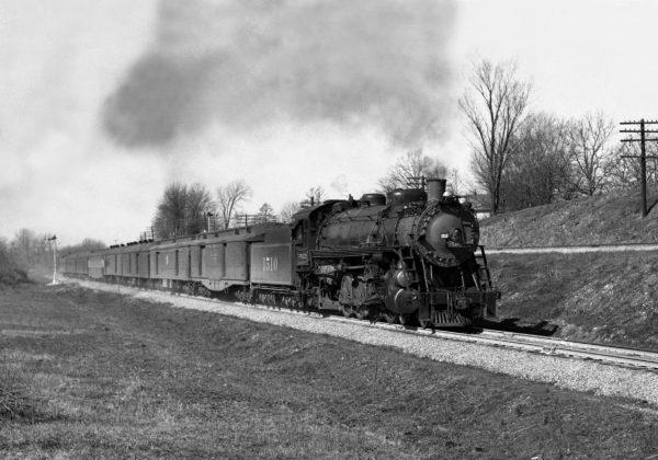 4-8-2 1510 on Train Number 2 at Kirkwood, Missouri in December 1939 (William K. Barham)
