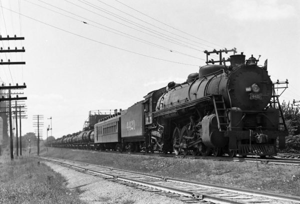 4-8-2 4421 on Train #36 (3rd Section) at Southeastern Junction, St. Louis, Missouri in June 1942