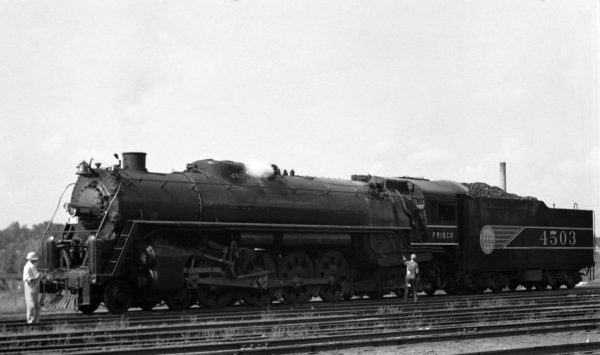 4-8-4 4503 outbound at the Lindenwood Yard Roundhouse, St. Louis, Missouri in June 1942 (William K. Barham)