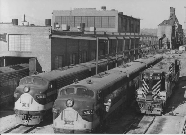 FP7 5044, F3A 5002 and GP7 556 at St. Louis, Missouri (date and location unknown)