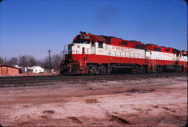 GP38-2s 432 and 668 at Springfield, Missouri on December 13, 1980