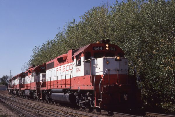 GP38AC 644, GP35 703 and SD45 931 at Nichols, Missouri on October 17, 1980