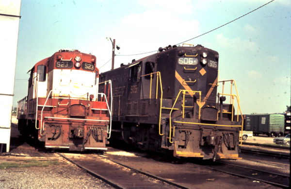GP7s 523 and 506 at Oklahoma City, OK (date unknown)