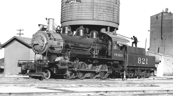 2-8-0 821 at Enid, Oklahoma (date unknown) (Robert J. Foster-Charles Felstead)