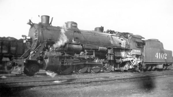 2-8-2 4102 at Springfield, Missouri on March 10, 1946 (Arthur B. Johnson)