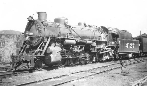 2-8-2 4127 at Springfield, Missouri on September 14, 1947 (Arthur B. Johnson)