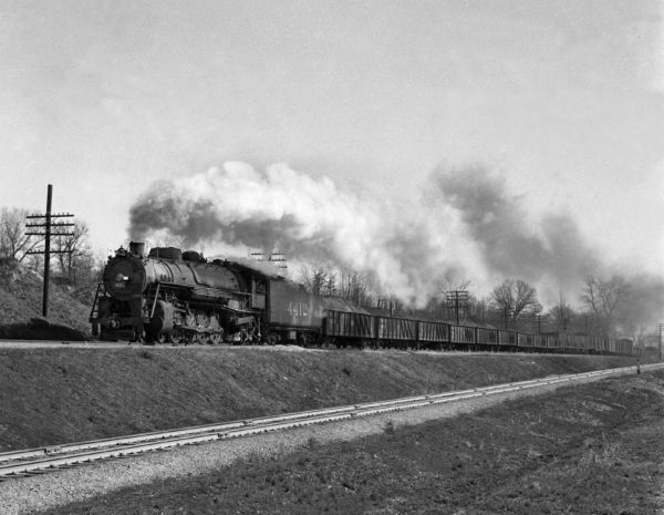 4-8-2 4412 Extra Westbound at Kirkwood, Missouri in March 1942 (William K. Barham)