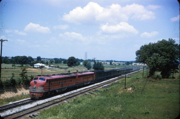 E8A 2007 (Whirlaway) near Birmingham, Al on Train #106 in July 1960