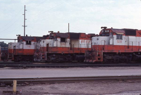 GP35 716, GP38AC 644 and SD45 928 at Springfield, Missouri in July 1978