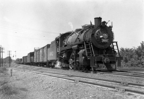 2-8-2 4002 Extra Eastbound at Southeastern Junction, St. Louis, Missouri in 1941 (William K. Barham)