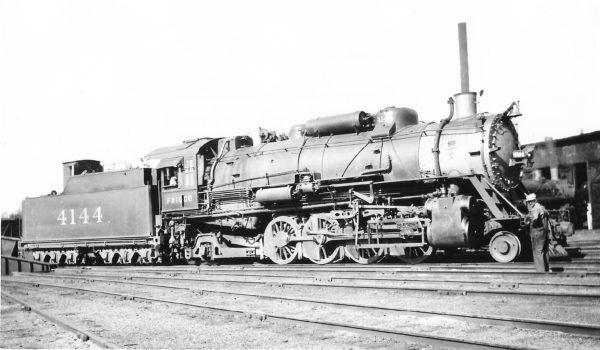 2-8-2 4144 at Monett, Missouri on September 22, 1938 (Arthur B. Johnson)