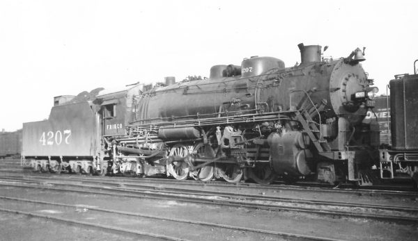 2-8-2 4207 at Springfield, Missouri on May 26, 1948 (Arthur B. Johnson)