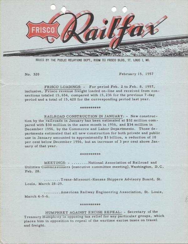 Railfax 320 - February 15, 1957