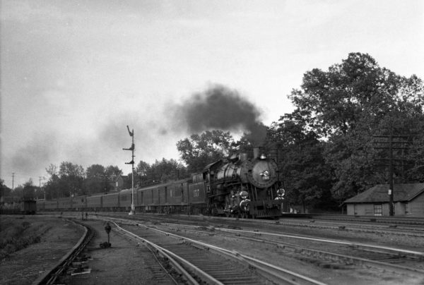 4-8-2 1517 Westbound on Train #1 at Lindenwood  Yard, St. Louis, Missouri in 1940 (William K. Barham)