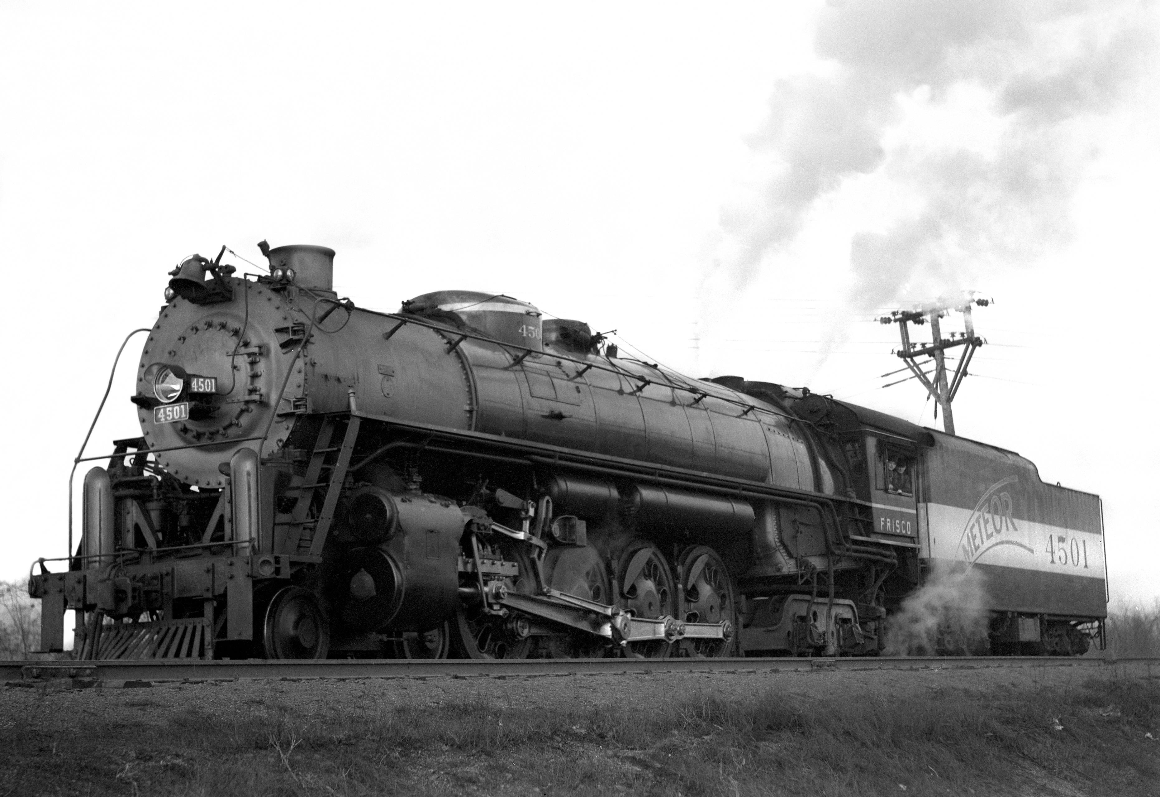 4-8-4 4501 New at Southeastern Junction, St. Louis, Missouri in October 1942 (William K. Barham)