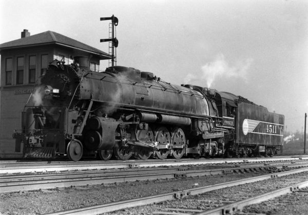 4-8-4 4511 at the Southeastern Junction Tower, St. Louis, Missouri in November 1942 (William K. Barham)