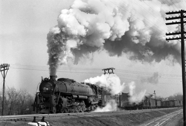 4-8-4 4511 on Train #37 (2nd Section) at Southeastern Junction, St. Louis, Missouri in November 1942 (William K. Barham)