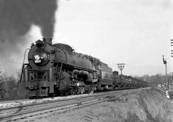 4-8-4 4512 on Train #37 at Shrewsbury, Missouri in November 1942 (William K. Barham)