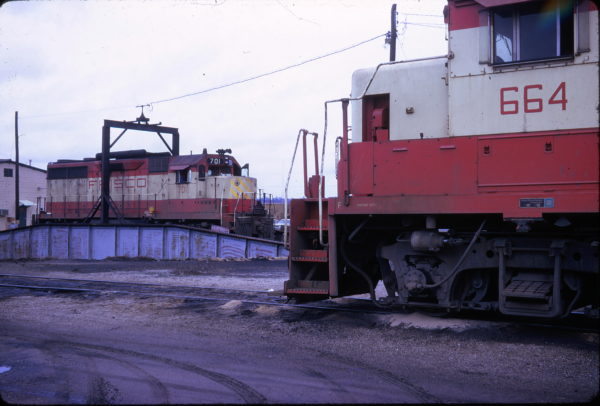 GP35 701 and GP38-2 664 at the Birmingham, Alabama Turntable in September 1973
