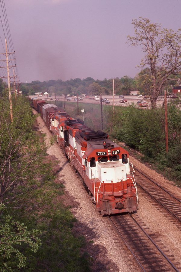 GP35 707 at Webster Groves, Missouri on May 4 , 1980 (M.A. Wise)