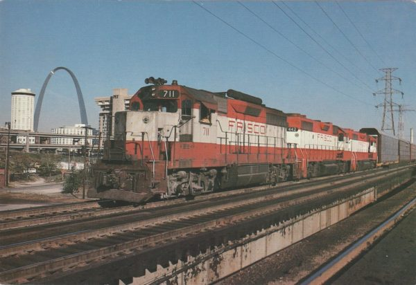GP35 711 and GP38-2 at St. Louis, Missouri (date unknown) (Postcard)