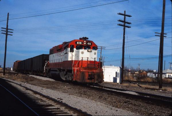 GP38-2 416 at Tulsa, Oklahoma on December 24, 1980 (Gene Gant)