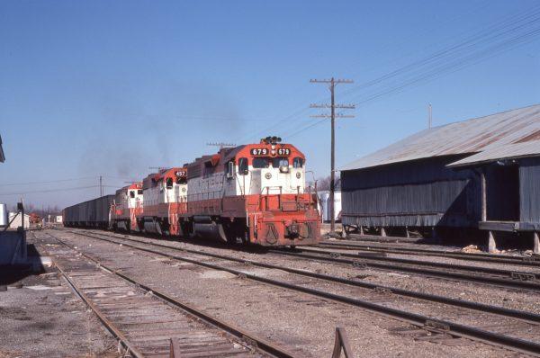 GP38-2s 679, 457 and U25B 817 at Columbus, Kansas on December 15, 1978 (George Cheatwood)