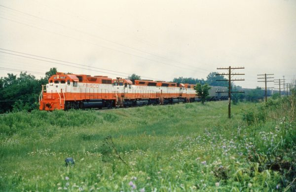 GP38AC 657, SD45s 936, 932, and GP38-2 688 at Norris, Oklahoma on June 2, 1979