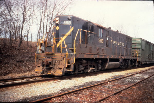 GP7 588 at Grandview, Missouri in March 1974 (County Depot)