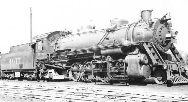 2-8-2 4017 at St. Louis, Missouri on October 23, 1938 (Arthur B. Johnson)