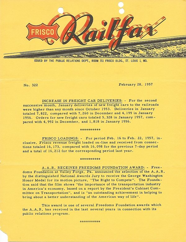 Railfax 322 - February 28, 1957
