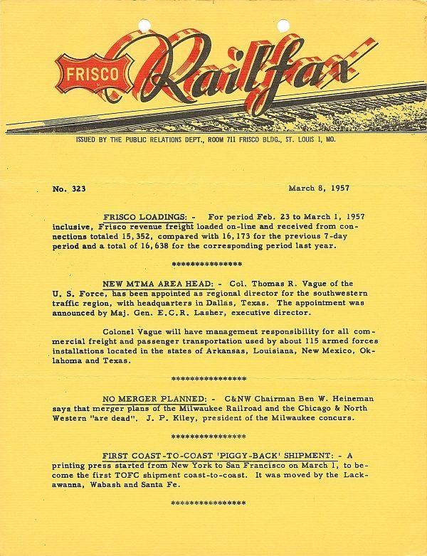 Railfax 323 - March 8, 1957