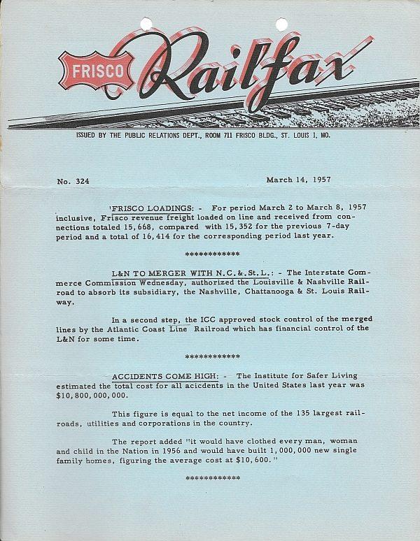 Railfax 324 - March 14, 1957