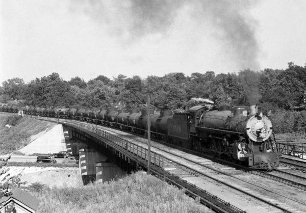 4-8-2 1500 Extra Westbound at Southeastern Junction, St. Louis, Missouri in 1941 (William K. Barham)