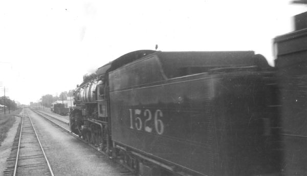 4-8-2 1526 on Train #105 (as photographed from Train #108) in Arkansas on June 2, 1949 (Arthur B. Johnson)