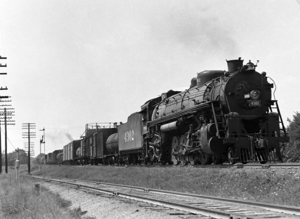 4-8-2 4302 with Train #38 at Southeastern Junction in 1942 (William K. Barham)