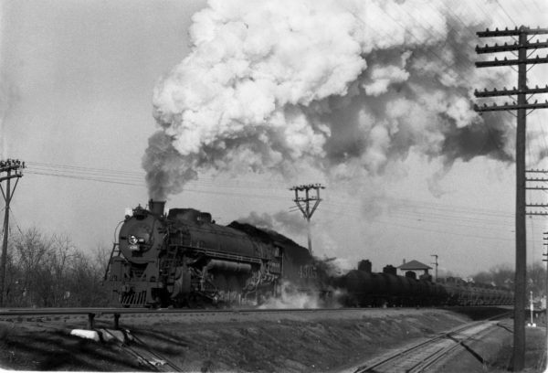 4-8-2 4305 Extra Westbound at Southeastern Junction, St. Louis, Missouri in September 1942 (William K. Barham)