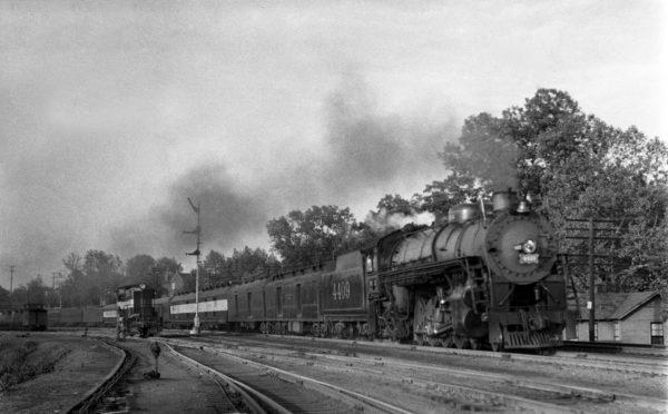 4-8-2 4409 Westbound with Train #9 at Lindenwood Yard, St. Louis, Missouri in 1942 (William K. Barham)