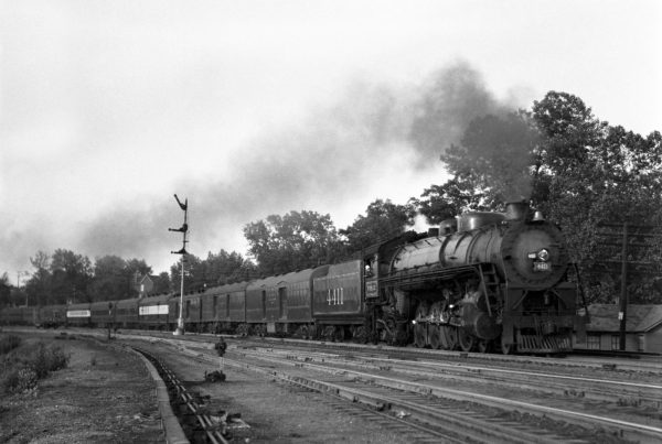 4-8-2 4411 with Train #9 at Lindenwood Yard, St. Louis, Missouri in August 1943 (William K. Barham)