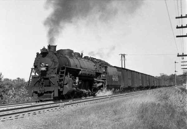 4-8-2 4416 with Train #37 at Shrewsbury, Missouri in 1941 (William K. Barham)